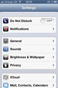 iOS 6 Settings menu